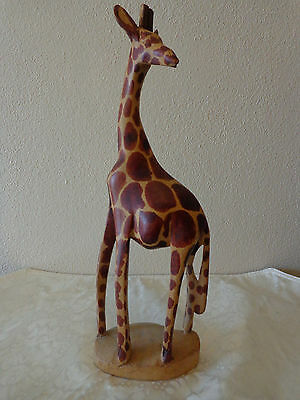 Hand Carved and Painted Wooden Giraffe Statue / Figurine