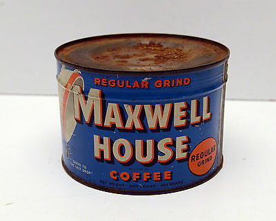 Vintage Maxwell House Coffee Can Tin 1 LB Full