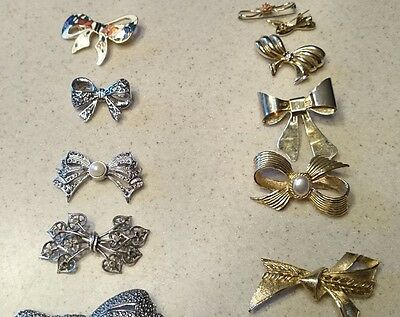 Lot Of 15 Vintage Bow Pins Costume Jewelry Brooches