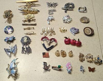 Lot Of 40 Vintage Pins Costume Jewelry Brooches