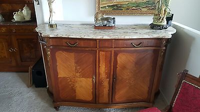 Louis XIV Style Fruitwood Inlay Parquetry Marble Top Sideboard Buffet BEAUTIFUL