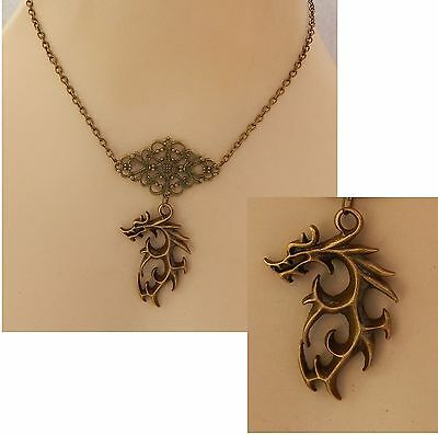 Gold Wolf Pendant Necklace Jewelry Handmade NEW Adjustable Chain Fashion