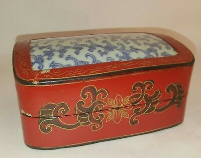 Vintage Chinese Blue White Porcelain Wood Box