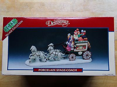 1993 LEMAX DICKENSVALE VILLAGE COLLECTIONS PORCELAIN STAGE-COACH-New!