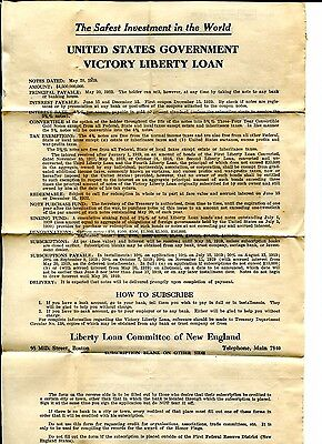 Unused 1922 - 1923 USA Victory Liberty Loan Form L&C 181 - Convert Gold Notes