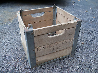 Vintage Wood Milk Crate Metal Elm Grove Dairy Rustic Primitive Advertising Box
