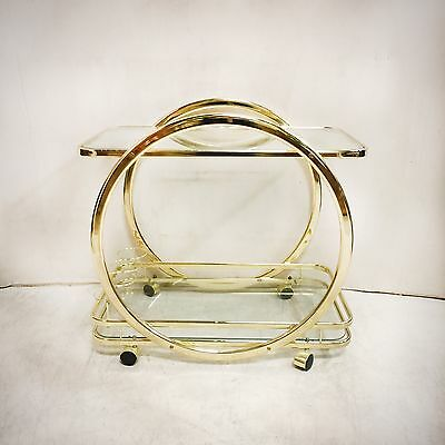 Superb Retro Geometric 2 Tier Brass and Glass Bar Cart on Casters $375