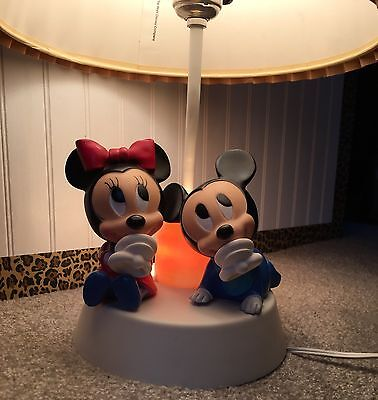 Vintage Mickey Mouse And Minnie Table Lamp W/ Original Shade 1981