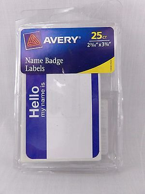"""Avery 6175 2 3/16"""" x 3 3/8"""" Hello My Name is Badge Labels 25 Count Blue"""