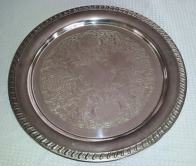 "Vintage Leonard Silver Plate Tray, 12"" Round Etched"