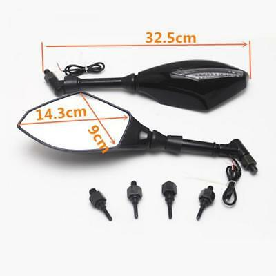 2x Motorcycle Rearview Mirror& LED Turn Signal Indicator W/ Clear Cover 1087