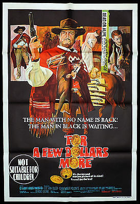 FOR A FEW DOLLARS MORE Original ONE SHEET Movie Poster Clint Eastwood