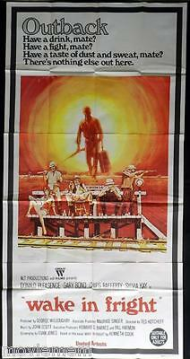 WAKE IN FRIGHT 1971 aka OUTBACK Rare Chips Rafferty 3 sheet movie poster