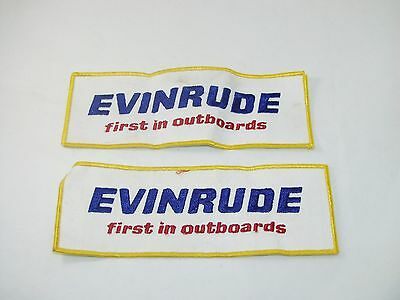 "Vintage lot of 2 ""Evinrude first in Outboards"" sew on patches embroidered 8x3"