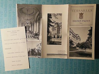 Versailles, France, Trianon Palace Hotel brochure, c1953, with price list