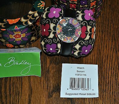 Vera Bradley Black Leather Watch Suzani Limited Edition