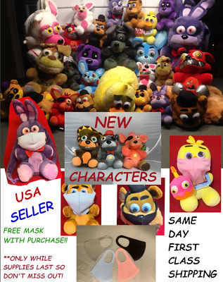 """FNAF PLUSHIE FIVE 5 NIGHTS FREDDY PLUSH 5"""" to 18"""" DOLLS BACKPACKS PILLOW HATS!"""