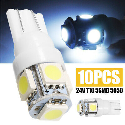 10x US 24V 5SMD LED 5050 T10 194 147 W5W Width Reading License Plate Light White