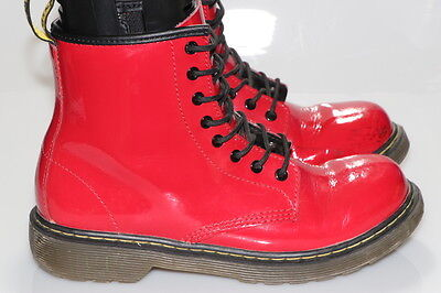 DR DOC MARTEN'S BOYS/GIRLS BROOKLEE RED PATENT LEATHER BOOTS SIZE 3y