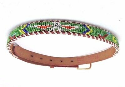 Vintage Child Leather Bead Belt - American Indian Style Western Souvenir sz 26