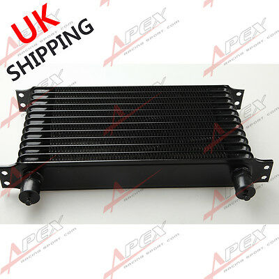 Universal 12 Row 10AN AN-10 Engine Transmission Oil Cooler Trust Style Black UK