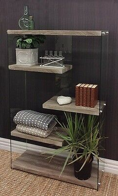 Aspect 5 Tier Glass Industrial Shelf Shelve Open Bookcase Display Stand Storage