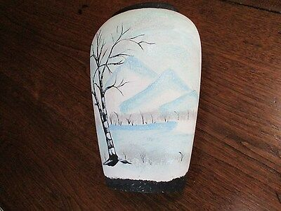 "Vtg Porcelain Handpainted Tree-Mountain Artist Picture 11 1/8"" Oval Vase"