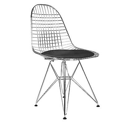 Nicer Furniture Set of 2 (Two) Black Eames Wire Chairs