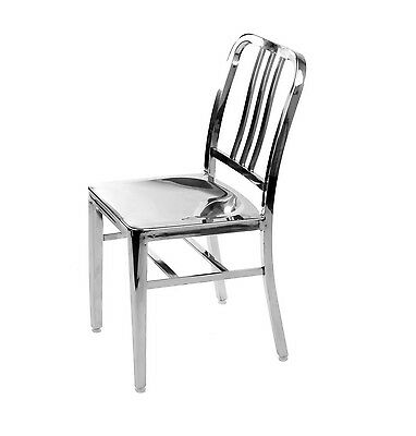 Set of 2-Stainless Steel Modern Salem Side Dining Chair Navy Chair Cafe Chair