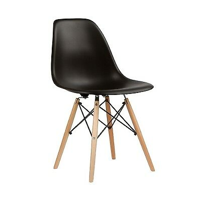 Nicer Furniture® Set of Two (2) Black - Eames Style Side Chair with Natural W...