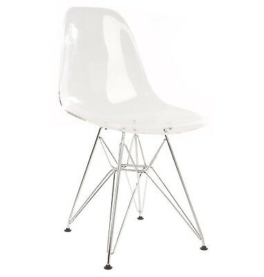 Nicer Furniture ™ Set of Four (4) Clear - Eames Style Side Chair with Chromed...
