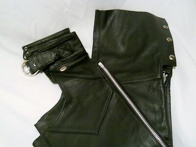 Authentic Harley Davidson Black Leather Chaps, Size Small