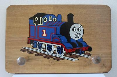 Vtg Wooden Child's THOMAS The Tank TRAIN Engine HAT / COAT / BACKPACK PEG BOARD