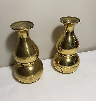 A pair of Vintage Chinese solid brass Feng shui gourd Vases H16cm