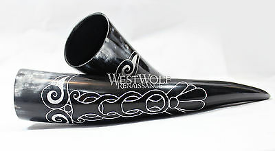 Hand-Carved Viking Raven Drinking Horn + Forged Iron Stand - Norse/Crow/Medieval