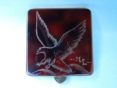 Very Rare Vintage Made in Argentina Faux Tortoiseshell Powder Compact w/ Eagle
