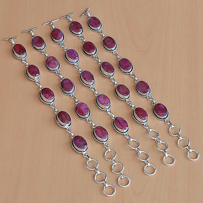 Wholesale Lot 5Pc 925 Silver Plated Faceted Red Ruby Stylish Bracelet Jewelry