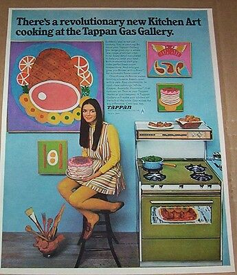 1968 advertising page - Tappan Gas Ranges stove oven MOD kitchen art PRINT AD