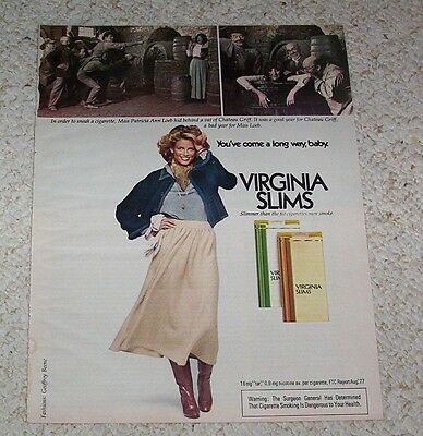 1978 ad Virginia Slims Cigarettes- Patricia Loeb smoking winery wine cellar AD