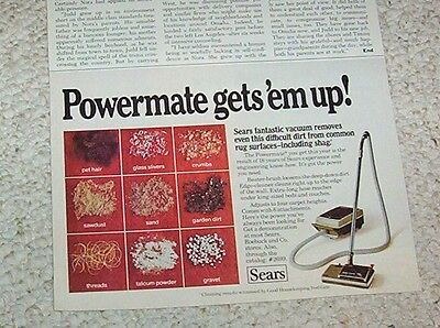 1976 print ad - Sears Powermate carpet vacuum cleaner vintage advertising ADVERT
