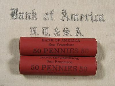 FIVE UNSEARCHED - Lincoln Wheat Penny Rolls 50 Cents - 1909 1958 P D S