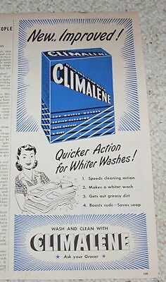 1947 vintage ad - Climalene Laundry soap detergent Blue PRINT Advertising