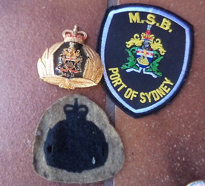 Obsolete Maritime Services Board Port Of Sydney Hat Badge And Patch Police Naval