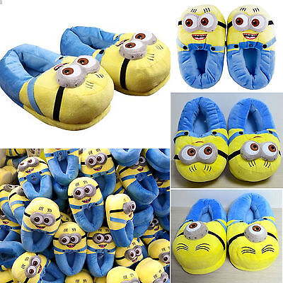 Women Movie Despicable Me Character Plush Minion Slippers Winter Soft Warm Shoes