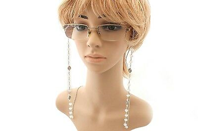 Eye Glasses Silver Chain flower charms  with Chalcedony beads  Elegant  Style