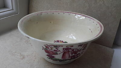 An English pottery bowl with transfer, painted and lustre decoration c1830s