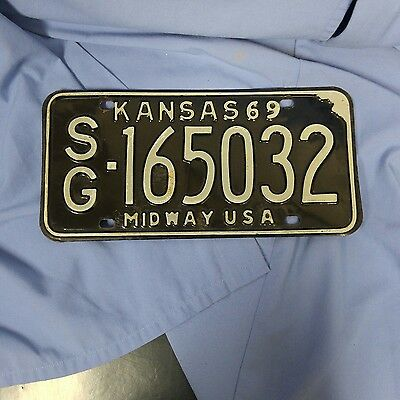 Vintage 1969 Kansas License Plate  Rustic