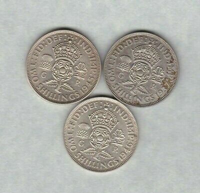 Three 1937/1945 & 1946 George Vi 50% Silver Florins In Near Mint Condition