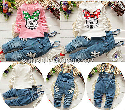 Baby clothes infant girls cotton long sleeve T shirt +suspenders outfits&set