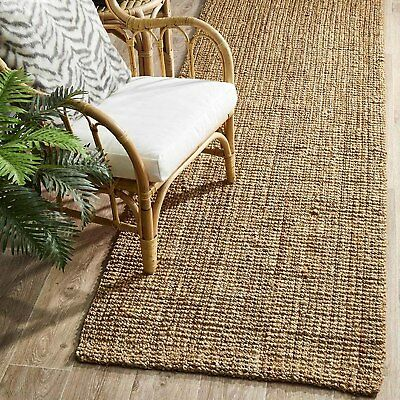 HAMPTON NATURAL BEIGE CHUNKY JUTE FLATWEAVE FLOOR RUNNER 80x300cm **NEW**
